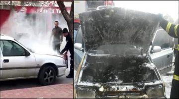 2 farklı yerde Park Halindeki otomobil yandı